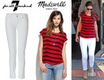 Katie Holmes' Madewell Silk Picket Stripe Tee And 7 For All Mankind Super Skinny Gwenevere Jeans