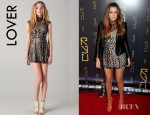 Khloe Kardashian's Lover Labyrinth Mini Dress And Jimmy Choo Letitia Suede and Leather Platform Sandals