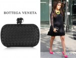 Kourtney Kardashian's Bottega Veneta Intrecciato Satin Knot Clutch
