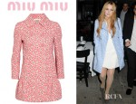 Lindsay Lohan's Miu Miu Printed Cotton Twill Coat