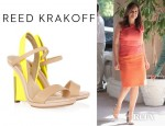 Mariska Hargitay's Reed Krakoff Leather And Patent Wedge Sandals