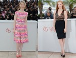 Mia Wasikowska In Prada & Jessica Chastain In Herve L. Leroux - 'Lawless' Cannes Film Festival Photocall