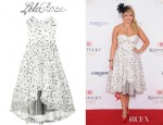 Miranda Lambert's Lela Rose Strapless Organza Jacquard Dress And Charlotte Olympia Paloma Fan Pleat Satin Pumps