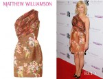 MyAnna Buring's Matthew Williamson One Shoulder Silk Chiffon And Woven Mini Dress