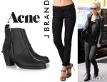 Olivia Wilde's J Brand Coated Stealth Power Stretch Jeans And Acne Pistol Leather Ankle Boots
