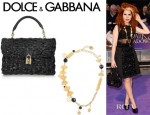 Paloma Faith's Dolce & Gabbana Bowtie Pasta And Gold Tone Chain Necklace And Dolce & Gabbana Woven Glossed Raffia Tote
