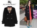 Rachel Bilson's Burberry Hooded Wool Felt Duffle Coat