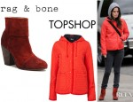Rachel Bilson's Topshop Hooded Quilted Jacket And Rag & Bone Classic Suede Newbury Ankle Boots