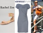 Reese Witherspoon's Vanessa Bruno Athé Sleeveless Dress And Rachel Zoe Gladys Flat Sandals