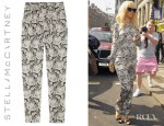 Rihanna's Stella McCartney Lace Print Silk Satin Tapered Pants