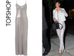 Rihanna's Topshop Silver Strappy Maxi Dress