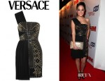Tulisa Contostavlos' Versace Leather Trimmed Studded Plissé And Scuba Jersey Dress