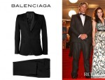 Viggo Mortensen's Balenciaga Wool And Mohair Blend Slim Fit Suit