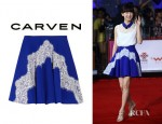 Zhou Dongyu's Carven Silk Cady And Lace Mini Skirt