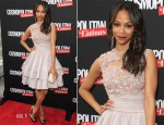 Zoe Saldana In Elie Saab Couture - Cosmopolitan For Latinas' Premiere Issue Party