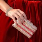 Katy Perry's Tacori bracelet and Judith Leiber 'Cake Slice' crystal minaudière