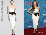 Allison Williams' Donna Karan Contrast Satin Dress