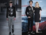 Andrew Garfield In Alexander McQueen - 'The Amazing Spider-Man' Germany Photocall