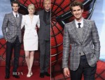 Andrew Garfield In Gucci - 'The Amazing Spider-Man' Germany Premiere