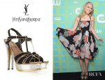 AnnaSophia Robb's YSL Tribute Suede And Metallic Sandals