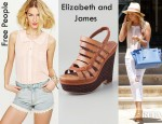 Ashley Tisdale's Free People Molly Solid Button Down Shirt And Elizabeth and James Silva Wedge Platform Sandals