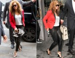 Beyonce Knowles In Dsquared², J Brand & Alexander McQueen - Caviar Kaspia Restaurant