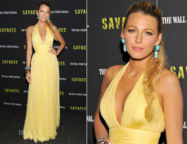 Blake Lively In Gucci - 'Savages' New York Premiere