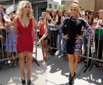 Britney Spears In Hervé Léger & Demi Lovato In Topshop - The X Factor Season 2 Auditions