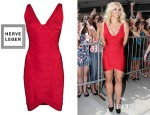 Britney Spears' Hervé Léger Ari Plunging V-Neck Dress