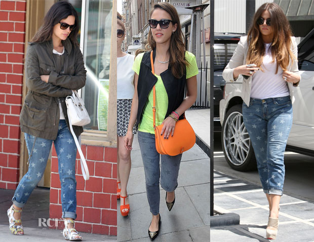 5a99b4e4baa As we know, celebrities love printed jeans, but they seem to particularly  love the Current/Elliott 'The Stiletto' star print jeans.