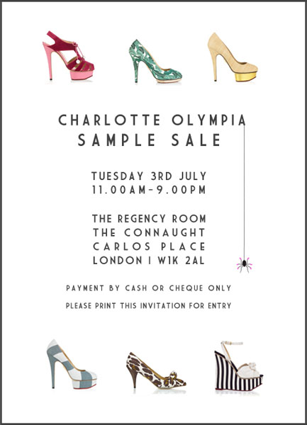 charlotte olympia sample sale red carpet fashion awards. Black Bedroom Furniture Sets. Home Design Ideas