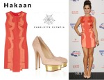 Cheryl Cole's Hakaan Arussi Satin Trimmed Crepe Dress And Charlotte Olympia Dolly Suede Platform Pumps