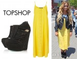 Demi Lovato's Topshop Strappy Button Midi Dress And Topshop Lady Mama Crystal Booties by CJG
