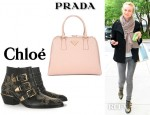 Diane Kruger's Chloé Studded Leather Ankle Boots And Prada Saffiano Framed Top Handle Bag