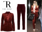 Elizabeth Olsen's The Row Brick Felt Jacket And The Row Brick Trousers