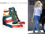 Elle Fanning's Marc by Marc Jacobs Kisha Leather Wedge Sneakers