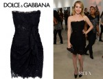 Emma Roberts' Dolce & Gabbana Lace Bustier Ruched Dress
