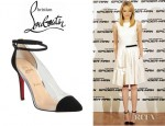 Emma Stone's Christian Louboutin Opaque Suede Trim Point Toe Pumps