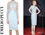 Emma Stone's Emilio Pucci Silk Chiffon And Wool Silk Twill Dress