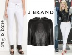 Emma Stone's J Brand Baez Leather Top And Rag & Bone Skinny Jeans