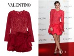 Emma Watson's Valentino Lace And Silk Satin Bubble Dress