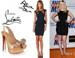 Francesca Eastwood's Alice + Olivia Victoria Peplum Dress And Christian Louboutin Metal Nodo Watersnake Slingbacks