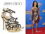 Jada Pinkett-Smith's Jimmy Choo Bunting Metallic Leather Sandals
