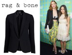 Jaime King's Rag & Bone Silver Tuxedo Jacket And Proenza Schouler PS11 Textured Leather Clutch