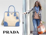 Jessica Alba's Prada Canvas And Saffiano Framed North-To-South Tote Bag
