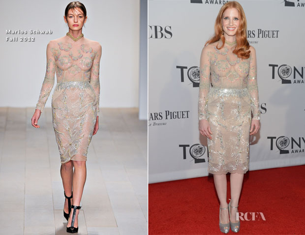 Jessica Chastain In Marios Schwab - 2012 Tony Awards