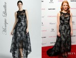 Jessica Chastain's Monique Lhuillier Hi-Lo Sleeveless Lace Dress