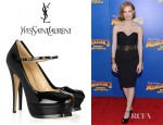 Jessica Chastain's YSL Tribute Patent Leather Mary Jane Pumps