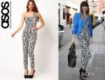 Jessie J's ASOS Printed One Shoulder Jumpsuit