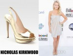 Julianne Hough's Nicholas Kirkwood Metallic Slingback Peep Toe Pumps